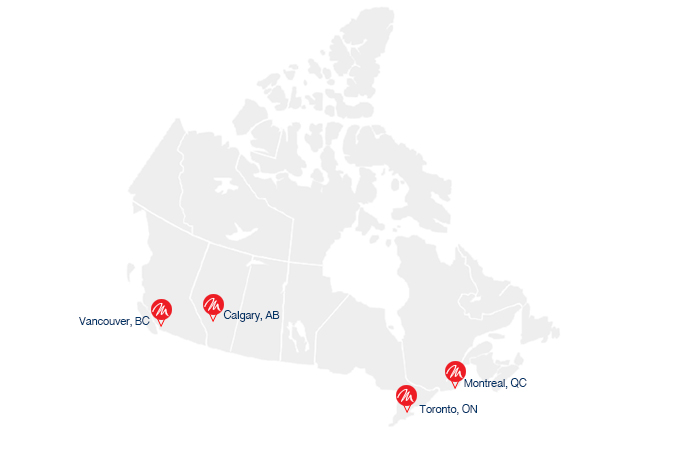 Our Locations on the Canada map
