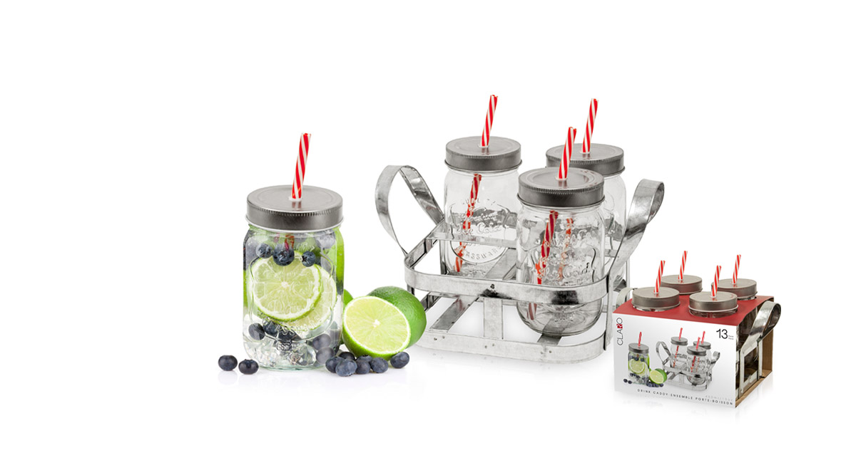 Modern houseware drink tumblers with straws and caddy